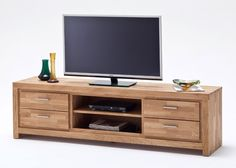 lowboard eiche massiv santos tv schrank holz asteiche geolt 8209
