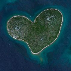 """Valentine's Day Lover's Island Galešnjak, Croatia 43°58′41.24″N15°23′1.14″E  Happy Valentine's Day! Galesnjak - commonly known as """"Lover's Island"""" - is a naturally occurring, heart-shaped isle off the coast of Croatia."""