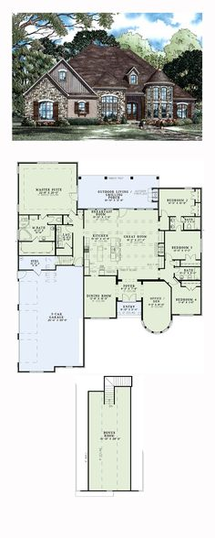 European House Plan 82245   Total Living Area: 3052 sq. ft., 4 bedrooms and 3 bathrooms. #europeanhome