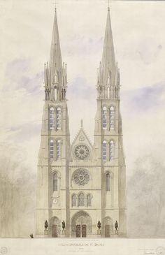 Saint-Denis : église abbatiale, projet de reconstruction de la façade. - Viollet Le Duc