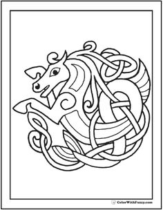 Celtic Horse Coloring Page Rampant