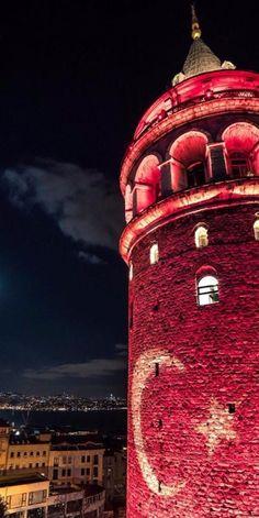 Turkish flag illuminated Galata Tower at night in İstanbul. Most Beautiful Cities, Wonderful Places, Places Around The World, Around The Worlds, Romantic Honeymoon, Turkey Travel, Hagia Sophia, Background Pictures, Galaxy Wallpaper