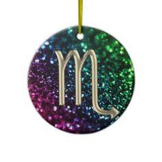 Rainbow Glitter Zodiac Sign Scorpio Ornament  #zodiac #Scorpio #Christmas
