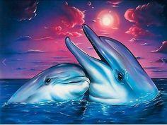 Dolphin Sunset - Round 20x25cm
