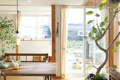 Prefab Home Design & Simpleness in a Japanese Countryside Beautiful Home Designs, Beautiful Homes, Home Design Decor, House Design, Home Decor, Japanese Countryside, Prefab Homes, Sliding Glass Door, Wood Cabinets
