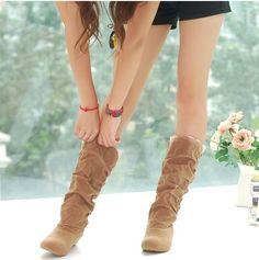 Nouvelle mode printemps automne casual chaussures princesse douce femmes démarrage élégant plat flock chaussures mode mi   mollet bottes livraison gratuite dans Bottes pour femmes de Chaussures sur AliExpress.com | Alibaba Group