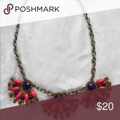 Fun J Crew summer necklace! EUC Bright orange (almost pink or red) and Navy flowers. Chain is adjustable. Excellent condition! Others in my closet!! Happy Poshing! 🤝🎁💃🏻 J. Crew Jewelry Necklaces
