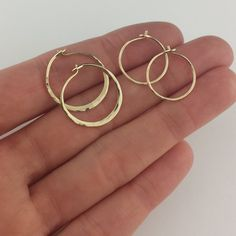 Tiny Hammered 14k Solid Gold Hoop Earrings 1 2 To 3