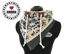 LieLoop, Blumen - Dreieckstuch, Dreiecksloop Sewing Art, Sewing Crafts, Sewing Projects, Sewing Patterns, Snood Scarf, Hooded Scarf, Sewing Scarves, Sewing Clothes, Sewing Hacks