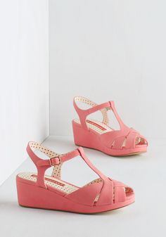 Lovely as Lemonade Wedge in Strawberry by Bait Footwear - Mid, Faux Leather, Pink, Solid, Casual, Daytime Party, Spring, Better, Platform, Wedge, T-Strap, Peep Toe