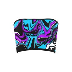 Purple Blue Black and White Abstract Melt Bandeau Top from BigTexFunkadelic Bandeau Tops, Black And White Abstract, Psychedelic, Purple, Blue, Neon, Seasons, Stylish, Womens Fashion