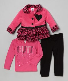 Take a look at this Pink Cheetah Ruffle Jacket Set - Infant, Toddler & Girls by Nannette on #zulily today!