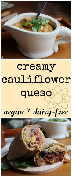 Creamy cauliflower queso: This protein-packed queso is entirely vegan & dairy-free. It gets its creaminess from cauliflower & white beans. Vegan Cheese Recipes, Dairy Free Recipes, Vegan Gluten Free, Healthy Recipes, Vegan Food, Healthy Sauces, Vegan Sauces, Lactose Free, Vegan Vegetarian