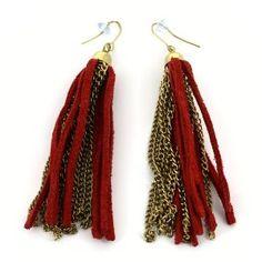 Boucles d'oreilles dorées avec tissu rouge - Bijou fantaisie: ShalinCraft: Amazon.fr: Bijoux