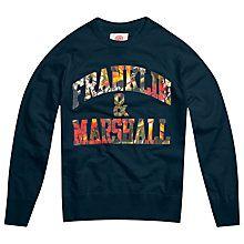 Buy Franklin & Marshall Floral Logo Sweatshirt, Navy Online at johnlewis.com