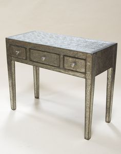 White Metal Console Table with 3 Drawers