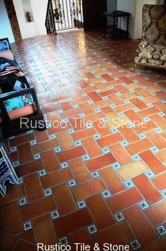 6x12 saltillo tile with 2x2 insert talavera painted tiles