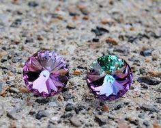 Mystic Lavender Swarovski Crystal Purple Rainbow Stud Earrings Super Sparklers Jewelry by Mashugana