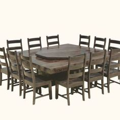 Pedestal Dining Table, Round Dining Table, Dining Room Table, Lazy Susan Table, Table For 12, Dining Room Design, Home Renovation, Solid Wood, Chairs