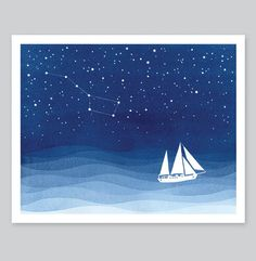 Sailboat Print watercolor painting blue starry night big #illustration #watercolor #sailboat #ocean #sea #blue #painting #print # stars
