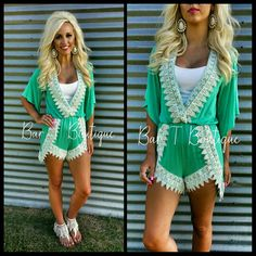 Mint Lace Romper ~ Follow @bar_t_boutique on Instagram  to Shop weekly New Arrivals