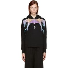 Marcelo Burlon County of Milan Black Yulisa Poncho Hoodie (1,650 SAR) ❤ liked on Polyvore featuring tops, hoodies, black, sweatshirt hoodies, poncho hoodies, drawstring hooded pullover, logo hoodie and hooded pullover