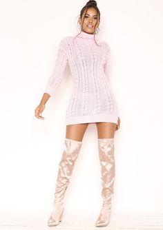 47d2ff34f6 Jenny Baby Pink Chunky Knit High Neck Jumper Dress