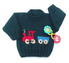 Knitted baby sweater - 6 to 12 months - Knit train jumper - Baby boys clothing - Infant green train sweater