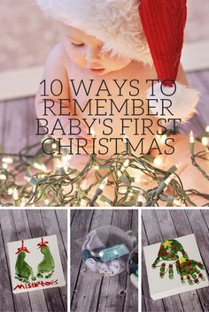 10 Ways to Remember Baby's First Christmas is part of First Baby crafts - Remember and preserve your baby's first Christmas with these 10 easy memory keeping ideas including baby ornaments, pictures, hand prints and Baby Christmas Photos, Babys 1st Christmas, Family Christmas, Christmas Time, Baby Christmas Crafts, Christmas Traditions Kids, Baby Girl Christmas, Baby First Christmas Ornament, Baby Christmas Activities