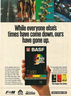 1992 BASF VHS Tapes Summer Olympic Games Vintage Print Ad