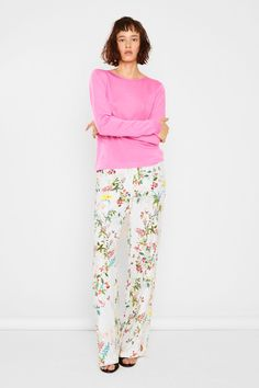 MASKA S/S17 pink sweater flower print pants