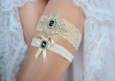 Sapphire Blue Ivory White Lace Bridal Garter Belt