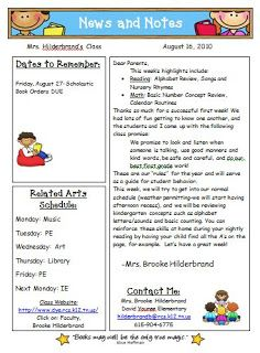 Templates for newsletters each week different students for Weekly bulletin template