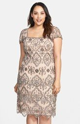 Pisarro Nights 'Lace Tiers' Embellished Cocktail Sheath Dress (Plus Size)
