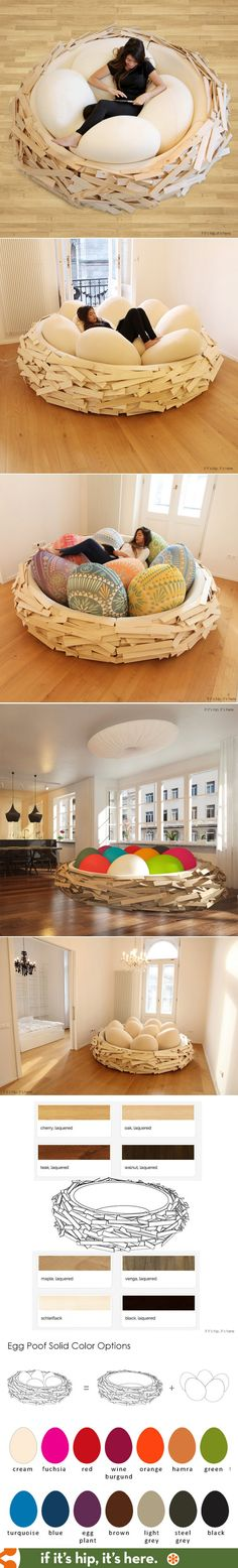 How awesome is this? The Giant Birdsnest,  now available in various sizes and wood finishes. Prices and order details at http://www.ifitshipitshere.com/giant-birdsnest-bed-evolves-formidable-piece-furniture/