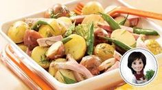 Baby potato, green bean, and ham meal salad from Josée di Stasio Vegetable Seasoning, Vegetable Salad, Vegetable Recipes, Healthy Diabetic Diet, Loaded Potato Salad, Lemon Green Beans, Cooking Green Beans, Baby Potatoes, How To Cook Potatoes