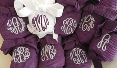Monogrammed Personalized Spa Waffle Weave Robe Personalized Bridesmaid Gift Purple Plum Wedding Colors