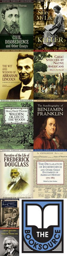 Nonfiction Classics Book Collection || Primary Sources || The Autobiography Of Benjamin Franklin || Civil Disobedience And Other Essays || The Declaration Of Independence And Other Great Documents Of American History || Great Speeches By African Americans || Great Speeches By Native Americans || Narrative Of The Life Of Frederick Douglass || The Story Of My Life || Walden; Or, Life In The Woods || The Wit And Wisdom Of Abraham Lincoln || Wit And Wisdom Of Mark Twain || brev.is/GjU5