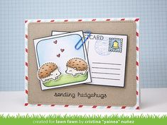 Lawn Fawn - Hedgehugs + coordinating dies, # awesome + coordinating die, You've Got Mail, Large Stitched Journaling Card _ card by Yainea for Lawn Fawn Design Team