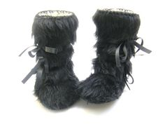 Black Faux Fur and Sheepskin Baby Boots Mukluk Style Baby Booties Baby Shoes Baby Booty