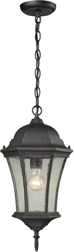 0-021481>Wellington Park 1-Light Outdoor Hanging Weathered Charcoal