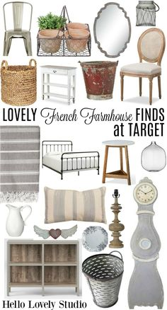 Lovely French Farmhouse Finds at Target! French farmhouse decor finds and furniture at Target from Hello Lovely Studio.French farmhouse decor finds and furniture at Target from Hello Lovely Studio. Modern French Country, French Country Living Room, French Country Farmhouse, Modern Farmhouse, Target Farmhouse, Country Chic, French Country Dining Chairs, French Country Curtains, Country Lounge