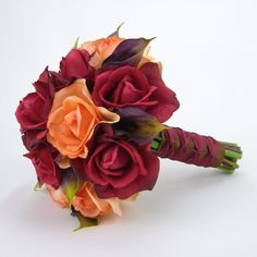 Autumn Roses & Calla Lilies Bridal Bouquet with Real Touch Flowers - Red Orange Purple Brown via Etsy.