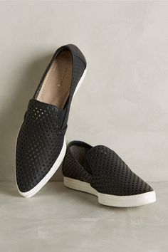 All Black Pointed Perforation Sneakers