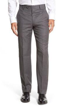 Zanella 'Devon' Flat Front Check Wool Trousers