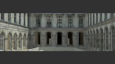 Image de la serie Empty. Cour Puget du Louvre. Tirage numérique, 300cm/100cm.