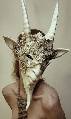 IMMAMESS HEADPIECE stunning Faun mask -- it would be interesting to see Fauns and Satyrs on the Montague boys, but I think it might be hard to find something so specific Cosplay, Beautiful Mask, Carnival Masks, Venetian Masks, Satyr, Masks Art, Fascinator, Headgear, Larp