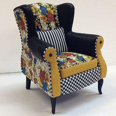 Incredible miniature furniture, whimsical upholstery! Kari Bloom, Miniton Miniatures