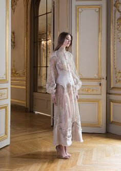 Paolo Sebastian A/W 2017 2018 PSAW1810 - Embroidered shirt dress with organza and tulle cut-work
