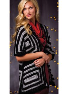 """Vivid squares and sumptuous texture create a luxurious wrap!   Make a bold statement with a mitered-square wrap! The lines, texture and the yarn combine to result in pure pleasure. Knit with 3 skeins of MC and 3 skeins of CC of Premier® Yarns Deborah Norville Everyday® Soft Worsted at a gauge of 14 sts and 22 rnds per 4"""" using U.S. size 10/6mm 29"""" circular and double-point needles. This pattern was originally published in the winter issue of Creative Knitting magazine. Finished size is 18"""" x…"""
